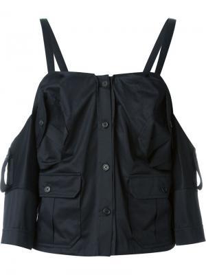 Блузка в стиле милитари Chalayan. Цвет: чёрный