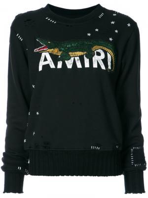 Состаренная толстовка с вышитым логотипом и крокодилом Amiri. Цвет: чёрный