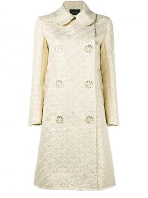 Жаккардовое пальто на пуговицах в виде цветов Simone Rocha. Цвет: металлический
