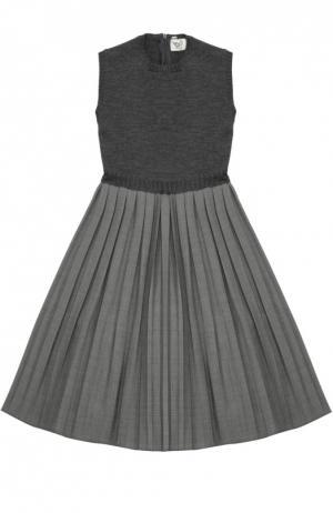 Платье без рукавов с юбкой в складку Caf. Цвет: серый