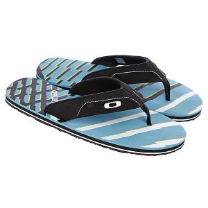 Шлепанцы  O-strap Black/Blue Oakley. Цвет: голубой,черный