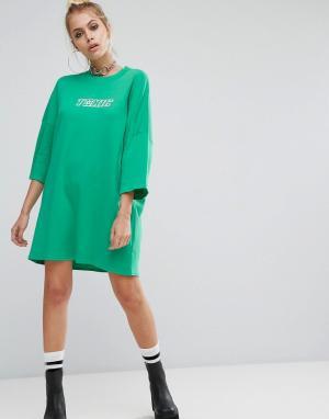 The Ragged Priest Свободное платье-футболка с принтом. Цвет: зеленый