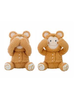 Интерактивная игрушка-повторюшка Медвежонок, играет в Ку-ку, закрывает глазки, смеется. Origami. Цвет: светло-коричневый, светло-оранжевый, темно-бежевый