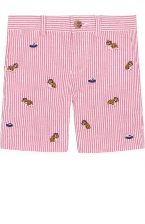 Хлопковые шорты с вышивкой Polo Ralph Lauren. Цвет: розовый