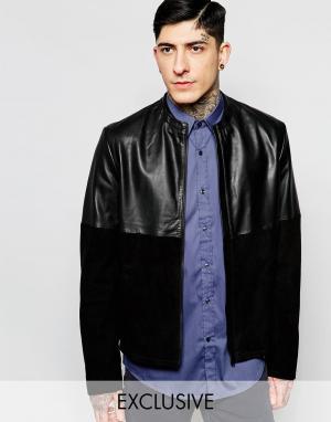 Black Dust Кожаная куртка с замшевыми вставками. Цвет: черный