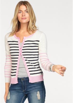 Кардиган AJC. Цвет: розовый/черный/цвет белой шерсти, светло-серый меланжевый/черный/цвет белой шерсти, светло-синий/черный/цвет белой шерсти