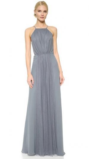 Платье с американской проймой и вставкой из тюля Monique Lhuillier Bridesmaids. Цвет: серебристый