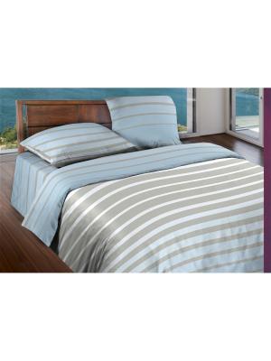 Комплект постельного белья 1,5 бязь Stripe Breeze Wenge. Цвет: светло-голубой, светло-серый