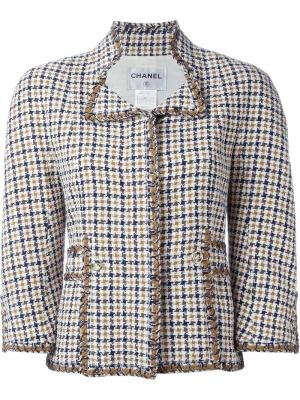 Пиджак в ломаную летку Chanel Vintage. Цвет: коричневый