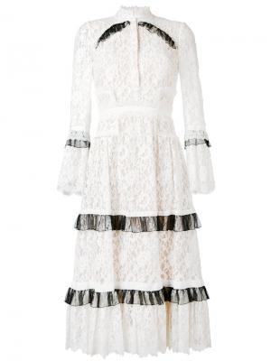 Кружевное платье Erdem. Цвет: телесный