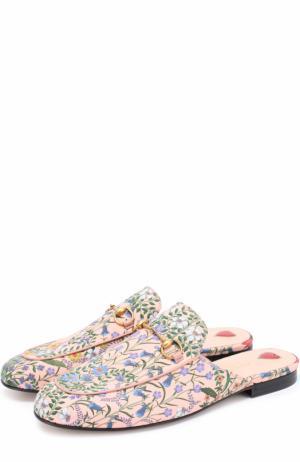 Сабо Princetown из текстиля с цветочным узором Gucci. Цвет: светло-розовый