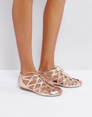 Office Кожаные сандалии с вырезами. Цвет: золотой