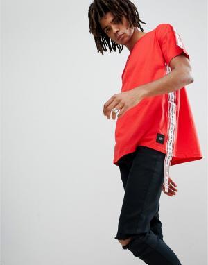 Sixth June Свободная красная футболка с полосами по бокам. Цвет: красный