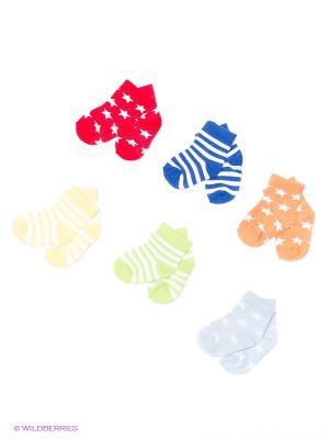 Носочки, 6 пар Luvable Friends. Цвет: синий, салатовый, голубой, красный, оранжевый, желтый