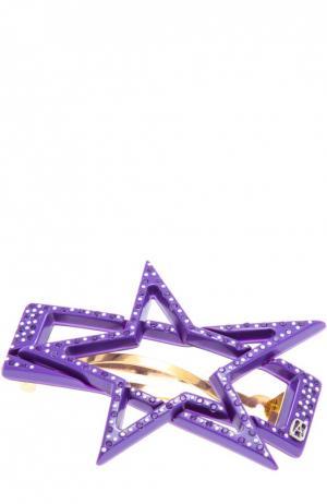 Заколка в виде звезды с кристаллами Swarovski Alexandre De Paris. Цвет: фиолетовый