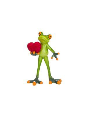 Фигурка декоративная Лягушонок с сердцем Elan Gallery. Цвет: зеленый,красный,оранжевый