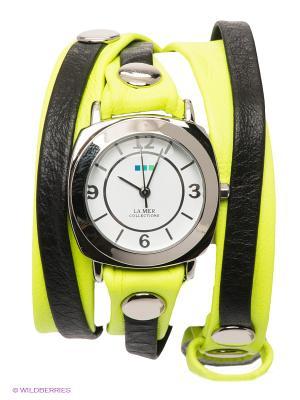 Часы La Mer Collections. Цвет: серебристый, салатовый, черный