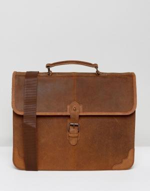 ASOS Светло-коричневый кожаный портфель. Цвет: рыжий