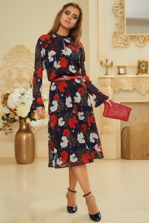 Платье с цветочным принтом и длинным рукавом Vittoria Vicci. Цвет: синий