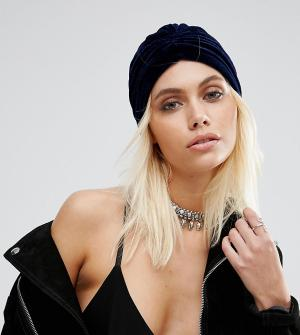 Reclaimed Vintage Фестивальная бархатная повязка на голову Inspired. Цвет: темно-синий
