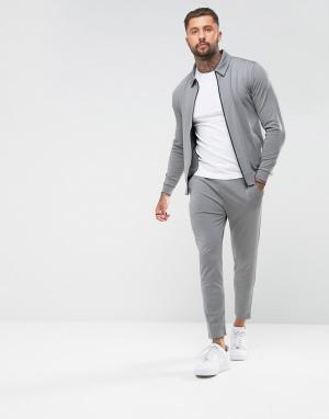 ASOS Спортивный костюм в стиле ретро с джоггерами скинни. Цвет: серый