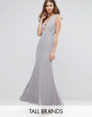 Fame and Partners Tall Платье макси. Цвет: серый