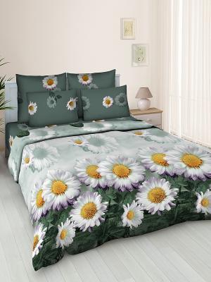 Комплект постельного белья Jardin. Цвет: антрацитовый, белый, зеленый
