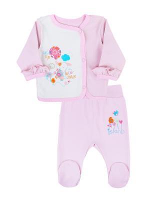 Комплект одежды: кофточка, ползунки Коллекция Розовые слоники КОТМАРКОТ. Цвет: розовый, молочный