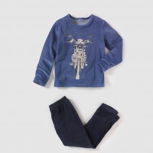 Пижама из велюра с рисунком, 2-12 лет R édition. Цвет: синий/ темно-синий