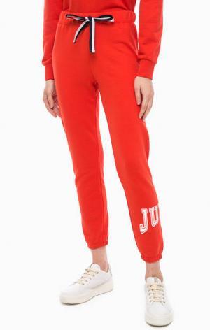 Хлопковые брюки джоггеры с принтом Juicy by Couture. Цвет: красный