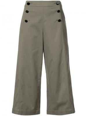 Широкие укороченные брюки Kate Spade. Цвет: зелёный