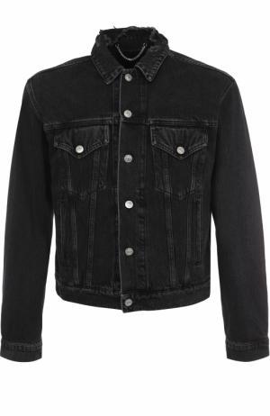 Джинсовая куртка на пуговицах с потертостями Balenciaga. Цвет: темно-серый