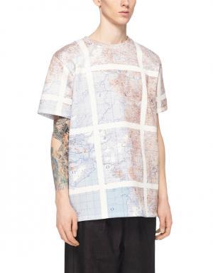 Хлопковая футболка Christopher Raeburn. Цвет: розовый, голубой
