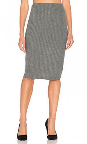 Плюшевая юбка-карандаш в рубчик Bella Luxx. Цвет: серый