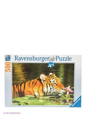 Паззл Тигр в лилиях, 500 шт Ravensburger. Цвет: белый, зеленый, оранжевый, розовый, синий