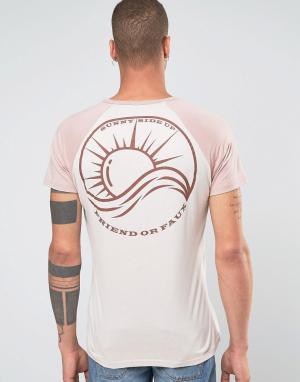 Friend or Faux Футболка с принтом на спине Oceana. Цвет: розовый