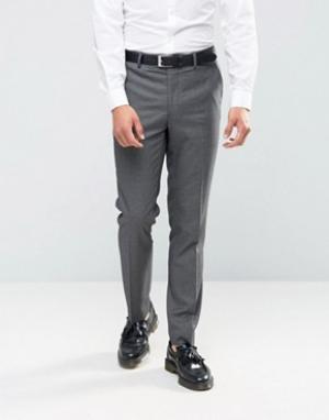 Farah Зауженные брюки с узором гусиная лапка. Цвет: серый