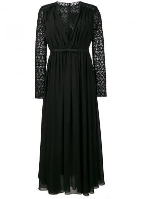 Кружевное платье с длинными рукавами Giambattista Valli. Цвет: чёрный