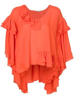 Блузка-кейп с оборками Emilio Pucci. Цвет: жёлтый и оранжевый