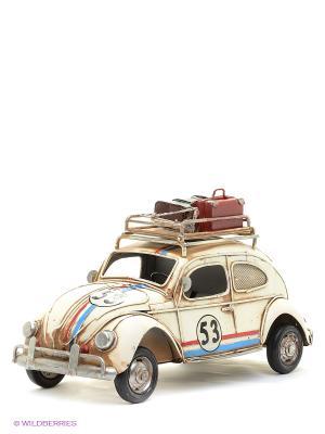 Модель Ретро Автомобиль с фоторамкой и копилкой  4х7см PLATINUM quality. Цвет: молочный