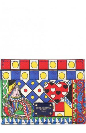 Кожаный футляр для кредитных карт с принтом Dolce & Gabbana. Цвет: разноцветный