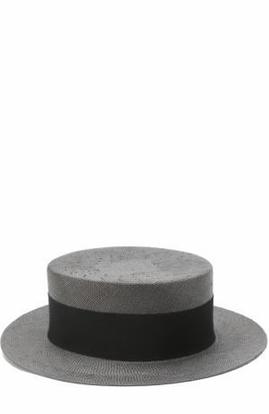 Соломенная шляпа с брошками Philip Treacy. Цвет: черный