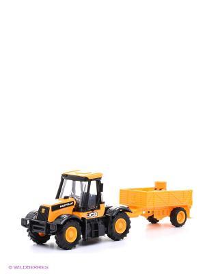 Cтроительная техника JCB в масштабе 1к32 Трактор HTI. Цвет: желтый