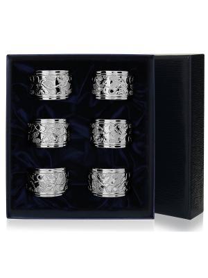Набор из 6 колец для салфеток Виноград+футляр АргентА. Цвет: серебристый