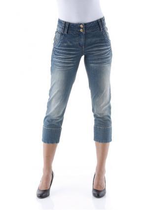Джинсы-капри Aniston. Цвет: синий деним