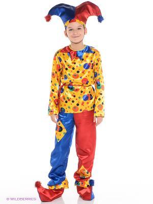 Карнавальный костюм Петрушка Батик. Цвет: красный, желтый, синий