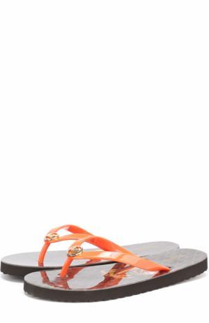 Резиновые шлепанцы с логотипом бренда MICHAEL Kors. Цвет: оранжевый