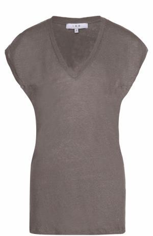 Льняная удлиненная футболка с V-образным вырезом Iro. Цвет: темно-серый