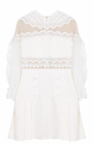 Приталенное мини-платье с кружевным лифом self-portrait. Цвет: белый