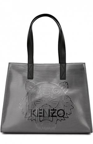 Металлизированная сумка-тоут Tiger large Kenzo. Цвет: темно-серый